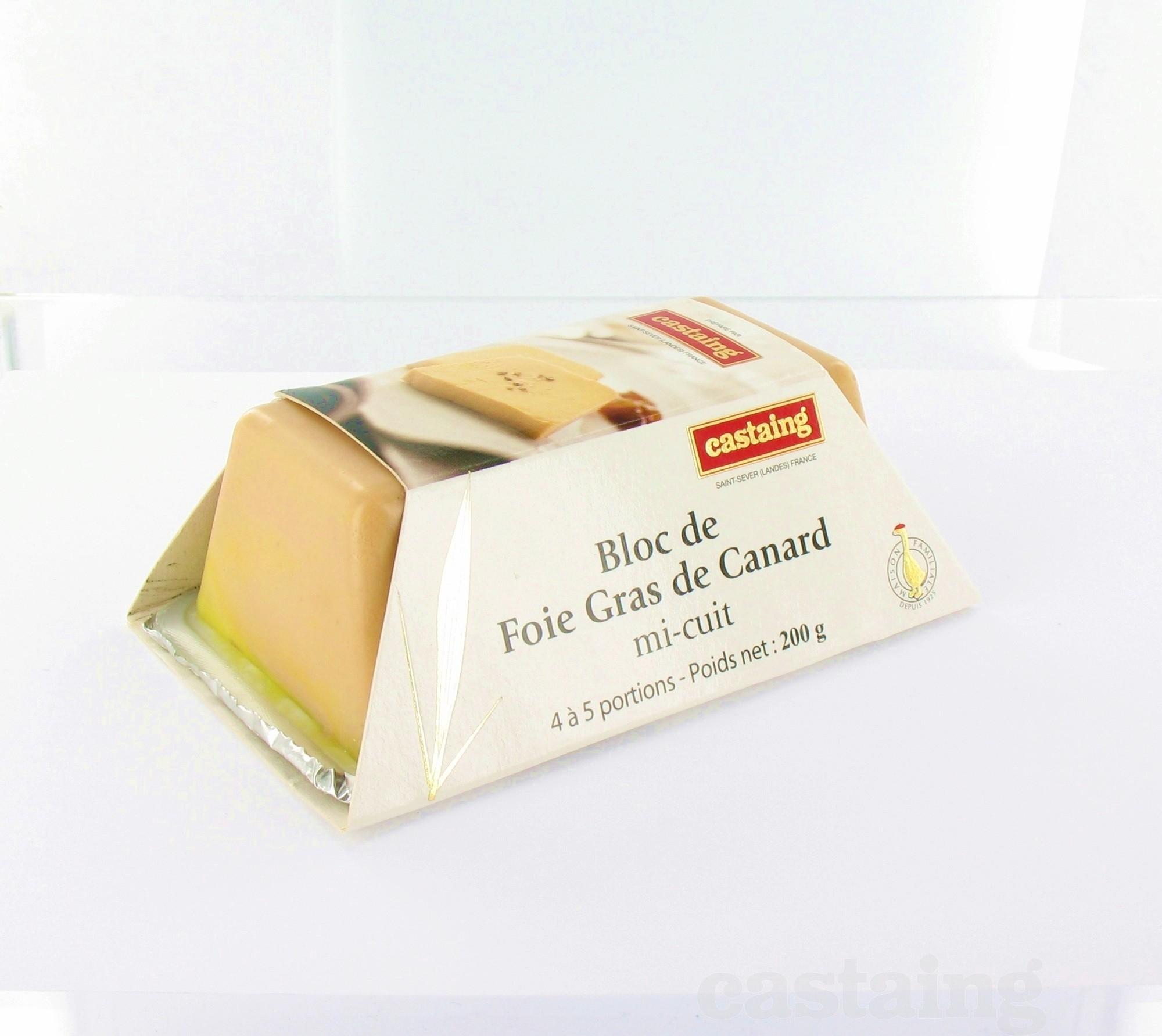 castaing bloc de foie gras de canard mi cuit